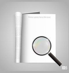 open paper magazine with magnifying vector image vector image