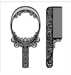 Ornate Comb with Mirror vector image