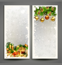 two christmas greeting cards with gifts and pine vector image
