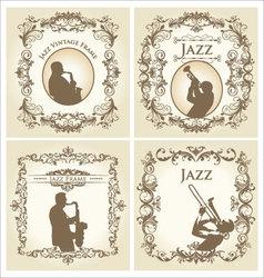 vintage frame - jazz musician vector image vector image