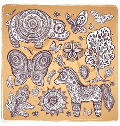 Vintage set of ethnic animals vector image vector image