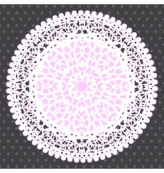 Background with Ornamental Round Lace Pattern vector image