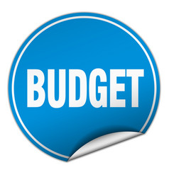 Budget round blue sticker isolated on white vector