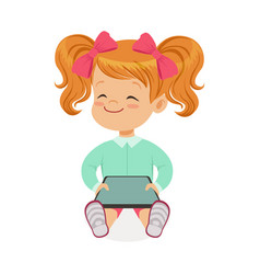 Little girl sitting and playing with digital vector