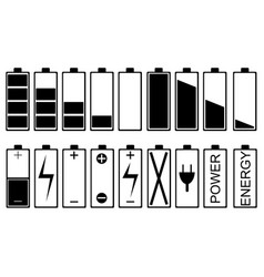 set of different battery icons vector image vector image