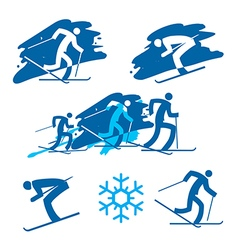 Skiers icons on the grunge background vector