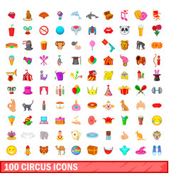 100 circus icons set cartoon style vector image