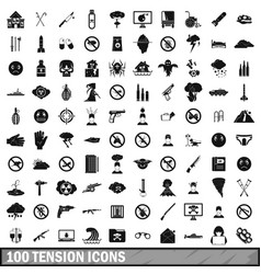 100 tension icons set simple style vector image
