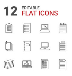 12 notebook icons vector image