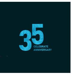 35 year anniversary aqua color template design vector