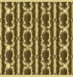 3d gold textured greek key meander seamless vector image
