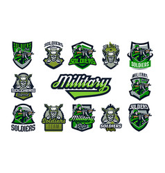 a collection emblems badges on a military vector image