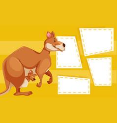 a kangaroo on blank note vector image