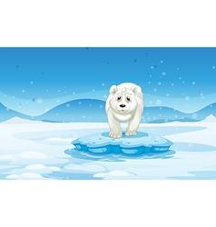 A sad polar bear standing above the iceberg vector