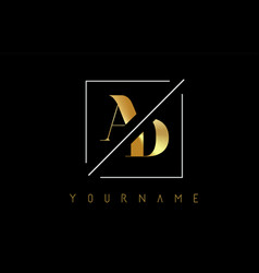 ad golden letter logo with cutted and intersected vector image