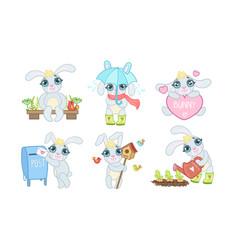 adorable bunny cartoon character set cute lovely vector image