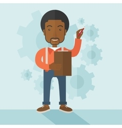 African lecturer with gears background vector
