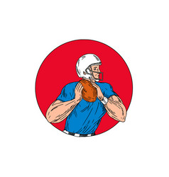 American football quarterback ready throw ball vector