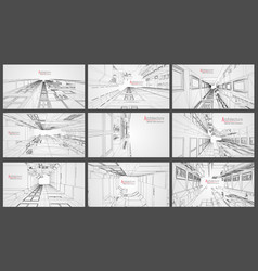 architecture wireframe background set building vector image