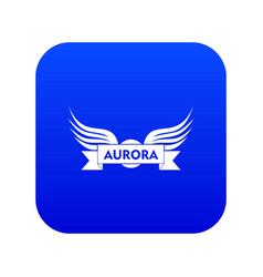 Aurora wing icon blue vector
