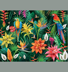 background from tropical flowers leaves and birds vector image