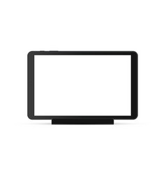 Black tablet computer with blank screen on stand vector