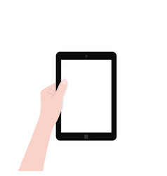 black tablet with white screen in left hand vector image