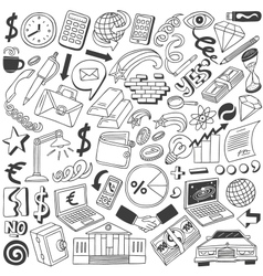 Business doodles collection vector image