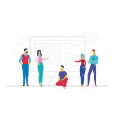 Business team presenting a website - flat design vector