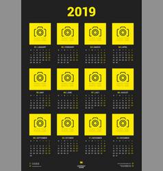 Calendar poster template for 2019 year week vector