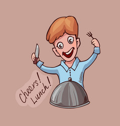 cartoon comic guy with knife and fork looking vector image