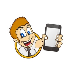 cartoon guy holding phone vector image
