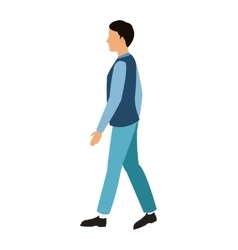 cartoon man with blue vest walking vector image
