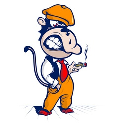 cartoon monkey smoke and smile vector image