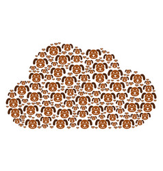 Cloud collage puppy icons vector