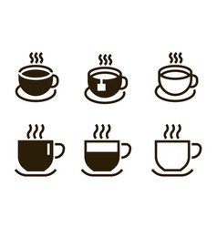 coffee cup icons contour mugs with hot beverages vector image
