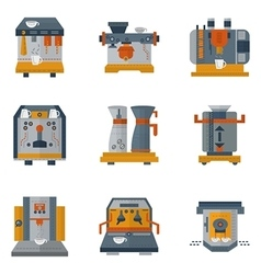 Coffee machines flat color icons vector image