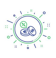 Coins money line icon cashback service vector