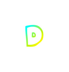 Cold gradient line drawing cartoon letter d vector