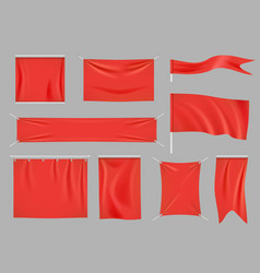 colored fabric banners promotional flag vector image