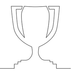 continuous one line winning cup concept trophy vector image