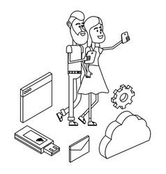 couple and technology isometric in black and white vector image