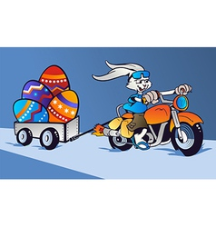 Crazy easter bunny cartoon in motorbike vector