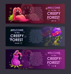 Creepy forest banners concept predator plants set vector