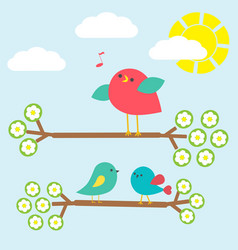 Cute birds on springtime branches vector