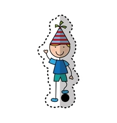 cute boy character with party hat vector image