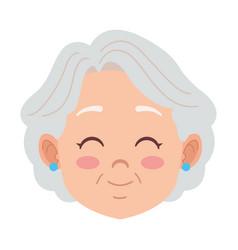 Cute happy grandmother head avatar character vector