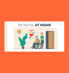 Disabled old people in nursing home landing page vector
