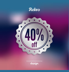 discount silver badge forty percent offer vector image