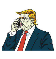 Donald trump on mobile phone cartoon vector